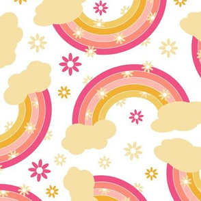 Pink Rainbow with Flowers Pattern