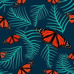 monarchs in the fern leaves