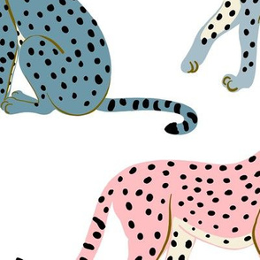 Pastel Cheetahs on White -Large by Heather Anderson