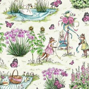 Garden Midsummer Maypole Foxes by Kim Marshall & Bunny