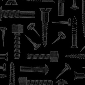 Black and Gray Screws, Nuts, and Bolts