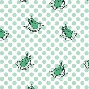 Aqua Polka Dot Birds
