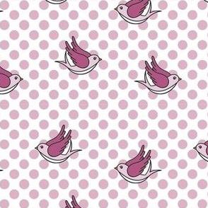 Pink Polka Dot Birds