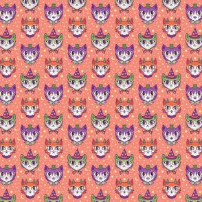 Retro Monster Cats (small) Orange
