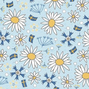 swedish summer flowers and flags