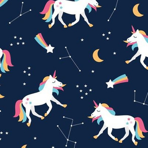 Magical universe rainbow constellation unicorn and shooting stars kids nursery design navy pink