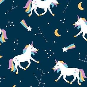 Magical universe rainbow constellation unicorn and shooting stars kids nursery design navy lilac girls
