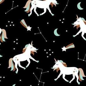 Magical universe rainbow constellation unicorn and shooting stars kids nursery design black brown mint boys