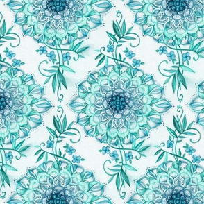 Mint and Teal Boho Nature Mandala - small