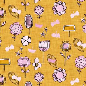 midsummer retro floral mustard