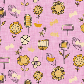 midsummer retro floral pink