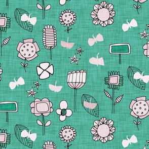 midsummer retro floral sage