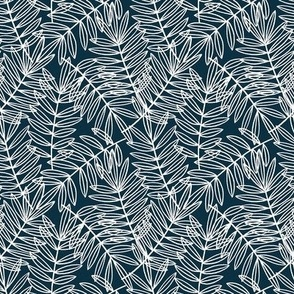 Coastal Palm Fronds on Nautical Navy Blue and White - Small