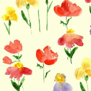 Bold bloom on cream - watercolor summer flowers
