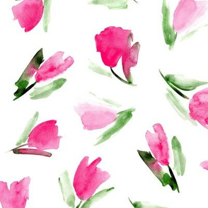 Juliet's tulips - watercolor pink flowers