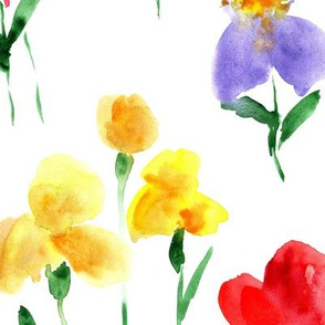 Bold bloom - large scale watercolor summer flowers