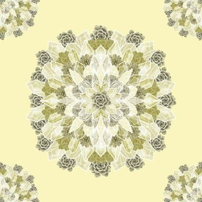 Crystals Succulents Mandala  - YELLOW