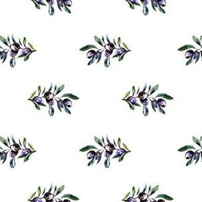 Olive Branches on White, Minimalistic Pattern