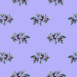 Olive Branches on Purple Blue, Minimalistic Pattern