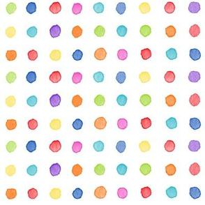 Multi Watercolor Dots | Bright and colorful watercolor fabric, multicolor polka dots, dotty rainbow fabric.