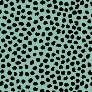 Rough & wild cheetah wild cat spots animal print nursery minimal trend sage green black