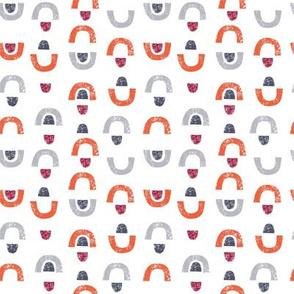 Arches & Gumdrops: Orange, Gray, Red