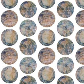 Tan and Blue Circles Half Drop Repeat 2x2