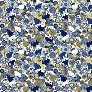 Midsummer Cats Mini - Small Scale- Face Mask- Cat and Flowers-Vintage Japanese Floral- White- Navy Blue- Gold- Yellow