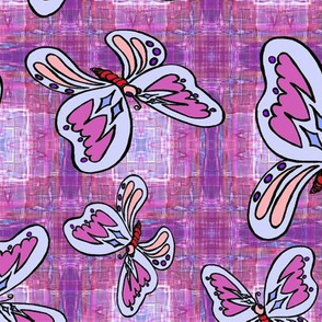 BUTTERFLIES PLAID 1 bright pink