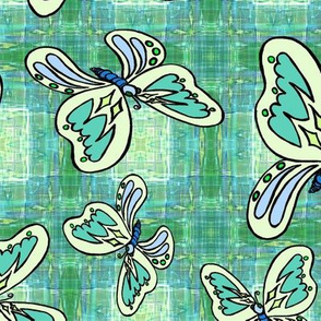 BUTTERFLIES PLAID 1 teal green