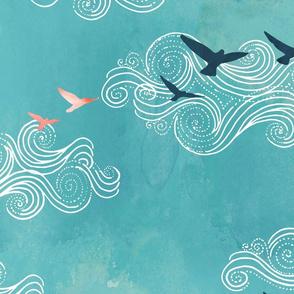 Blue sky birds - large scale