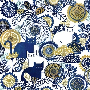 Midsummer Cats Large- Cat and Flowers- Vintage Japanese Floral- Home Decor- Wallpaper- White- Navy Blue- Gold- Yellow