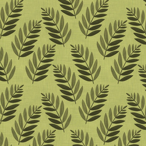 ferns on green