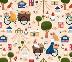 Gnomes, Gals, & Gardens // Swedish Midsummer Festival // Bikes, Cottage, Maypole, Strawberries, Summer, Forest, Trees, Picnic, Dogs, Flowers, Florals, Solstice, Midsommar, © ZirkusDesign