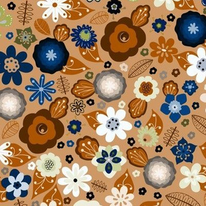 Kitsch 70s Flowers-Classic Blue and Brown-Smaller