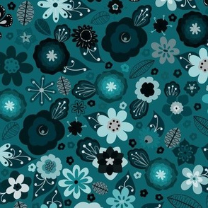 Kitsch 70s Flowers-Classic Blue-Smaller