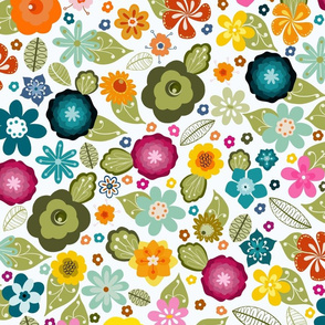 Kitsch 70s Flowers-Multicoloured