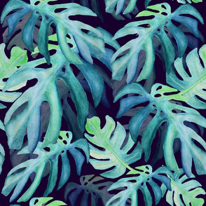 Tropical leaves green and blues hues