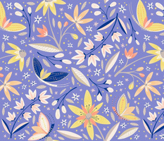 Yellow purple floral