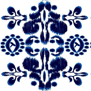 Ikat Blue and white large scale