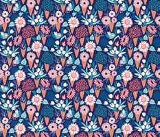 Small scale // Midsummer I scream flower cones // navy blue background pink coral and aqua and teal flowers bouquets