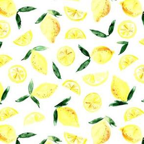 Lemons in zest - watercolor citrus fruits for juicy summer
