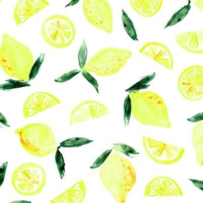 Lemons in zest - watercolor citrus