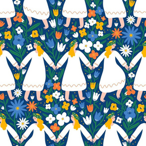 Midsummer dancing girls in flower field