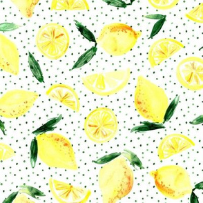 Lemons in zest - watercolor citrus with dots
