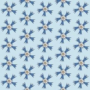cornflowers on light blue medium