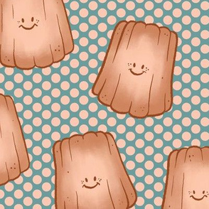 Happy Little Caneles on Teal and Blush Halftone - Large
