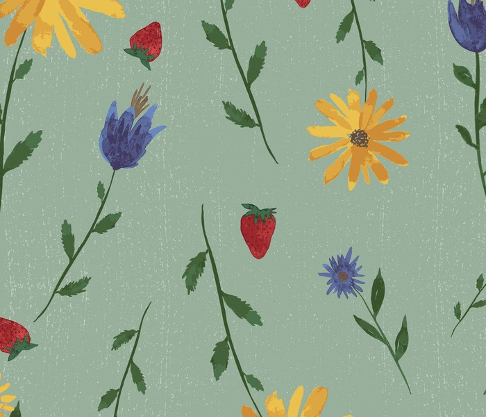 Watercolor Wild Flowers in Blue Violet Yellow with Strawberries on Green