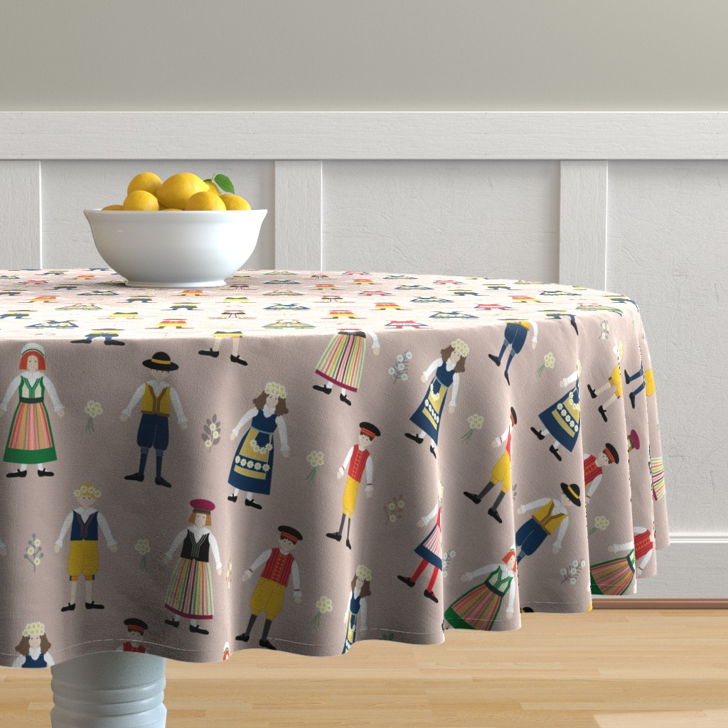 Malay Round Tablecloth featuring Scandinavian Midsummer Festival by twigged