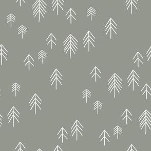 CUSTOM pinetree fabric - minimal tree fabric, forest woodland nursery fabric -